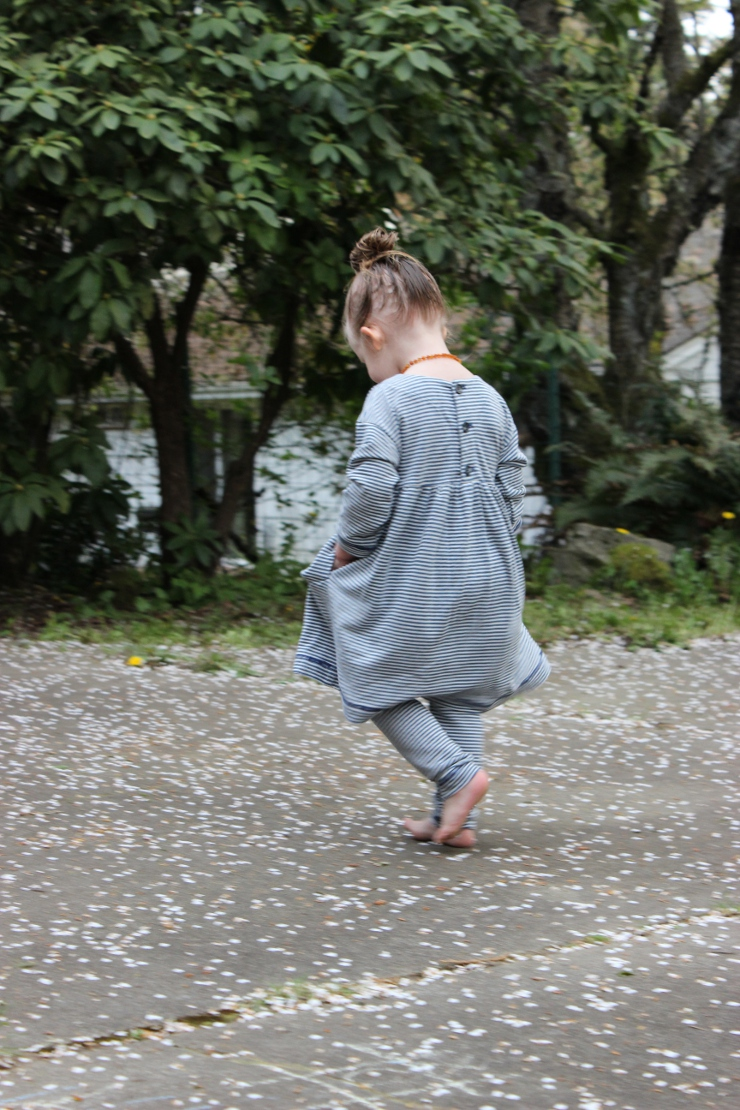 Back view of toddler wearing Oliver + S Playtime dress by Sew Maris