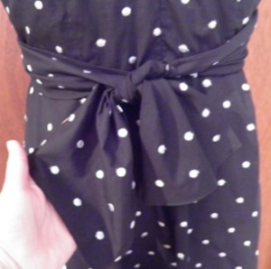 Black polka dot dress back bow