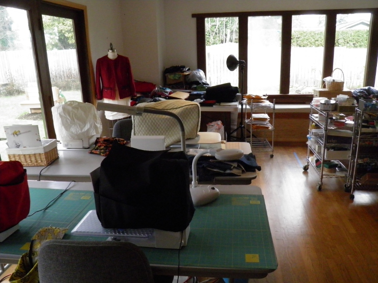 Staging Table behind Sewing Machines