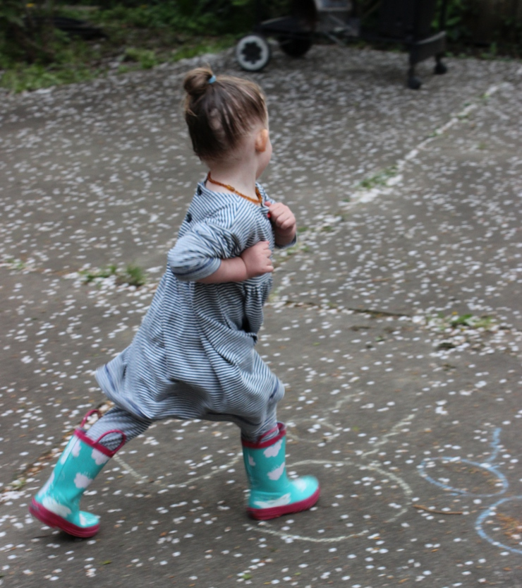 Toddler running wearing Oliver + S Playtime Dress and Leggings by Sew Maris