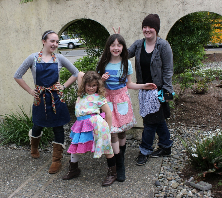Ruffles, florals, skulls and geometric aprons form 4 gals in Sew Maris sew camp
