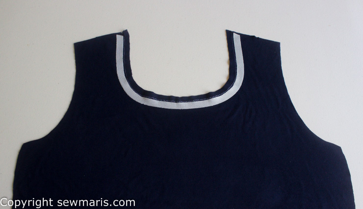 knit stay tape placement around neckline by Sew Maris