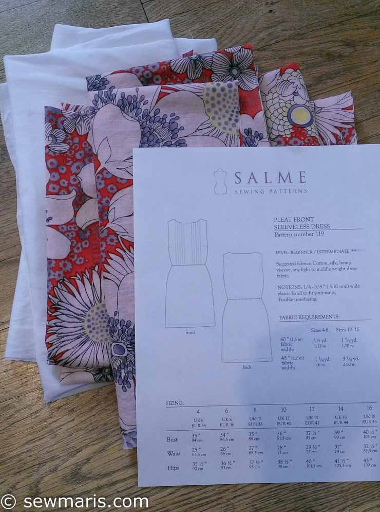 Floral voile fabric for Salme PLeat Front Dress by Sew Maris