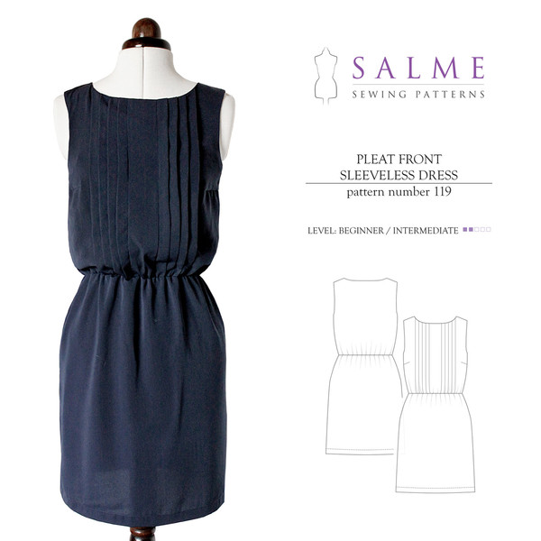 Salme Pleat Front Dress made by Sew Maris