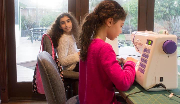 Sewing students at Sew Maris