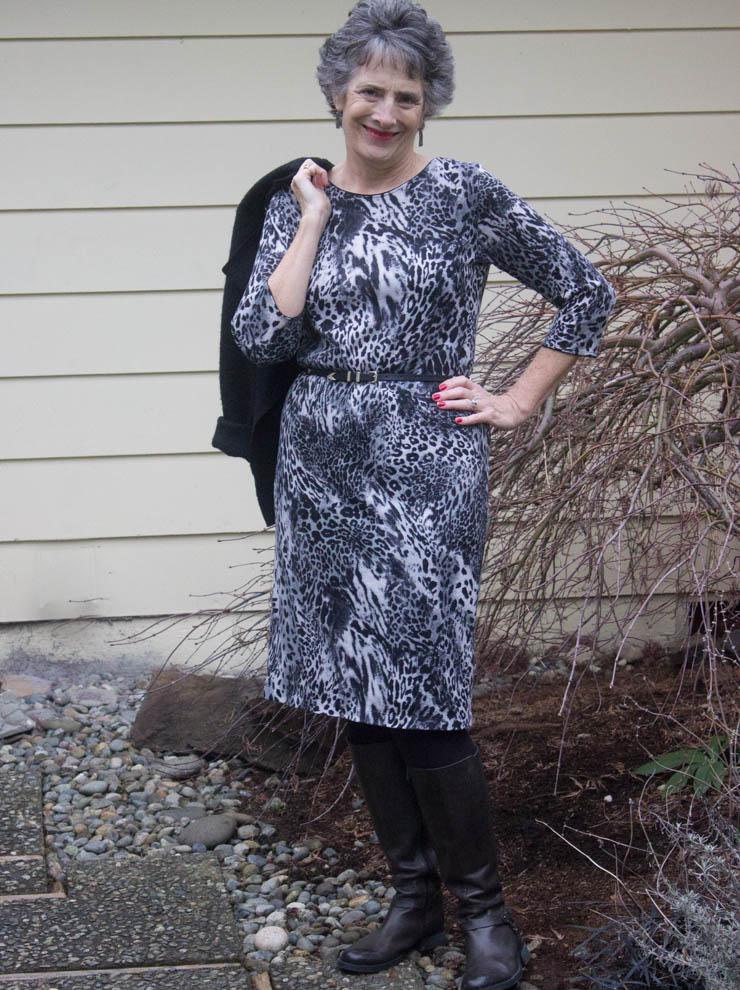 Grey animal print sweater dress by Sew Maris